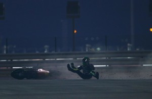 Espargaro selected neutral accidentally causing him to run off track and crash.