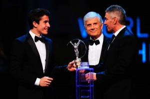 Marc Marquez, Giacomo Agostini and Mick Doohan all at the 2014 Laurens Awards in Malaysia.