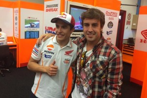 Marc Marquez caught up with Fernando Alonso in Mugello before Marquez went on to win his sixth straight Grand Prix.